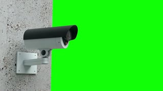Animation of security camera watching. Green screen. loop ready file.