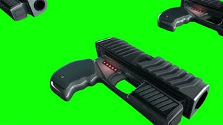 Background CG animation of guns. Camera moving over futuristic hand guns. Stock Video. The clip is loop-ready. Alpha channel added
