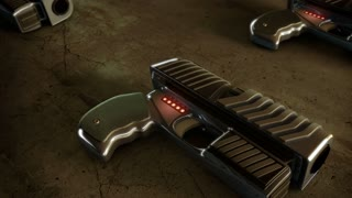 Background CG animation of guns. Camera moving over futuristic hand guns. Stock Video. The clip is loop-ready. Yellow version.
