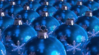 Blue christmas decorations on background. The clip is loop ready