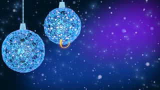 Blue christmas decorations with christmas greetings. Loop-ready.