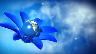 Blue  flower holding the earth in blue abstract space.  The clip is loop ready. Earth map texture by NASA.