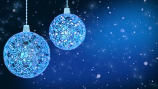 Christmas decorations on blue background with copy space. Loop-ready.