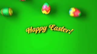 "Easter eggs rolling around text ""Happy Easter!"""