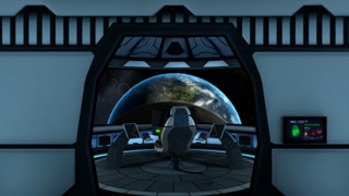 Entering to spaceship's captain's bridge. Spectacular view on earth.