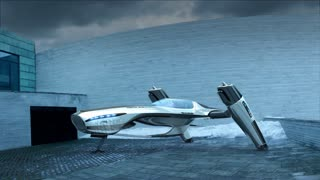 Flying futuristic car taking off