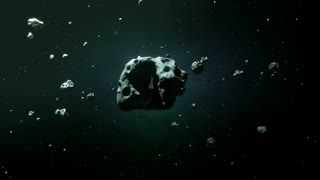 flying towards  asteroid field and colliding with asteroid
