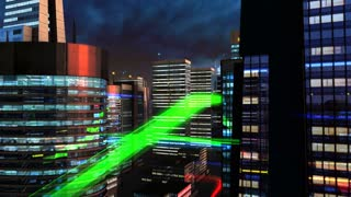 Flying trough futuristic looking financial district during night. Virtual data streams flying around. This is a loop.