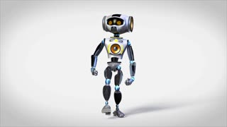 Funny robot performing jump-dance. The clip is loopable, alpha mask added.