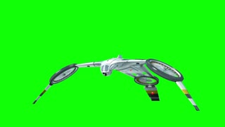 futuristic drone takes off and lands. Greenscreen