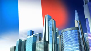 Growing city with French flag on background