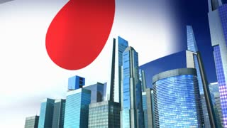 Growing city with Japan flag on background