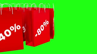 Isolated red sale bags on green screen