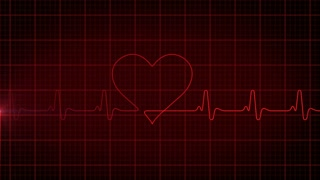 Loop-ready background EKG electrocardiogram pulse heart looking waveform, dark version