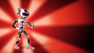 Robot is playing with air guitar on red background. The clip is loopable. Copyspace on right.