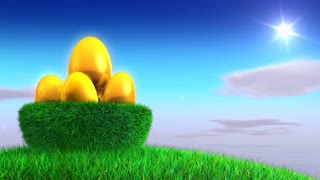 Rotating golden eggs in the grass nest