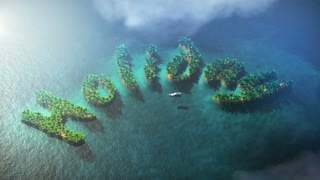 Small tropical islands form word Holiday with palm trees and yacht. The clip is loop ready.