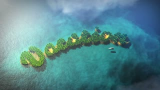 Small tropical islands form word Vacation with palm trees and yacht. The clip is loop ready.