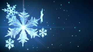 Snowflakes animation with copy-space. Dark blue background. The clip is loop-ready.