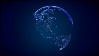 USA on digital globe with animated connections. Zoom in. Blue version.