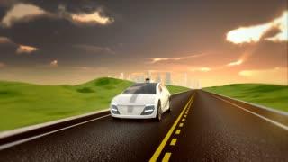 Electric autonomous car driving on a road
