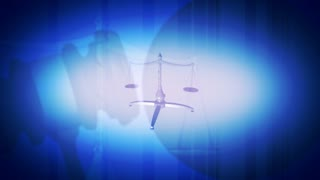 Justice Scales in Blue Looping Animated Background
