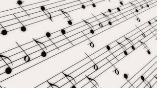 Music Notes on White Looping Background