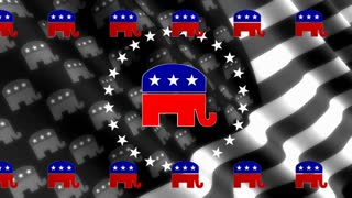 Republican Crest on Black and White Flag Looping Background