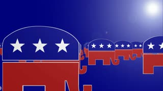 Republican Symbol fly through backwards Looping Background