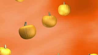 Subtle orange background with falling pumpkins loop