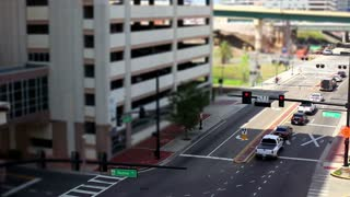 Downtown Orlando shot with traffic time lapse tilt shift shot two