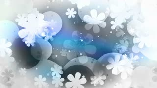 Flowers retro in black and blue and gray CG looping animated abstract backdrop
