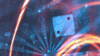 Gambling background with dice and shooting particle energy beams blue yellow orange loop