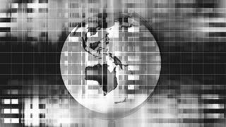 Geometric black and white Globe Earth looping VJ abstract CG background