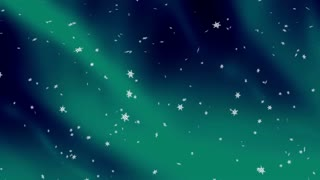 Holiday snow flakes and northern lights animated abstract looping background