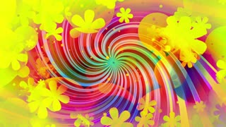 New retro bright colors shapes and flowers animated CG swirl VJ looping animated background