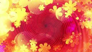 Retro swirl flowers and shapes yellow red pink multicolored CG sixties looping animated abstract background
