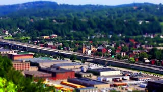 Pittsburgh tilt shift clip of highway and city view