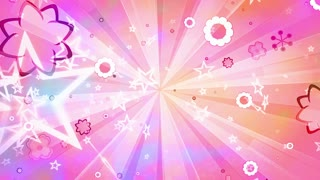 Retro stars and flowers looping abstract CG animated multicolored background