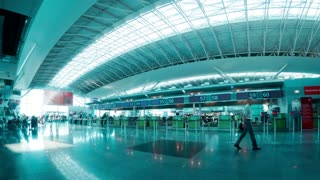 Check-in Hall of the Airport. Time Lapse 4K