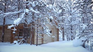 House in the Forest and Snowfall. Seamless Loop