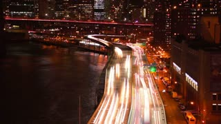Night Traffic on the Embankment. Slow Motion