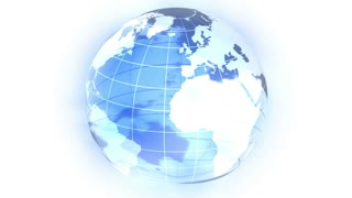 Stylized globe is rotating. Light-blue gradient stripes formed a background