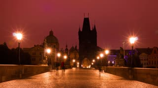 Tourists and Photographers on the Charles Bridge. Time Lapse 4K