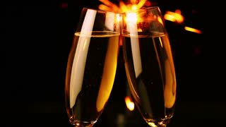 Two Glasses with Wine and Sparkler