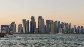 Doha Skyscrapers and Sunset. Time Lapse