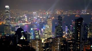 Night Hong Kong and Light Show
