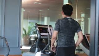 Bangkok, Thailand, November 18, 2016 A man of Asian appearance playing sports in the gym