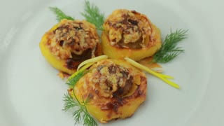 Boats potato stuffed with beef meat and hard parmesan