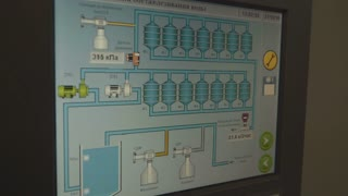 filter control system on a monitor. Industrial water filtration and ionizer system